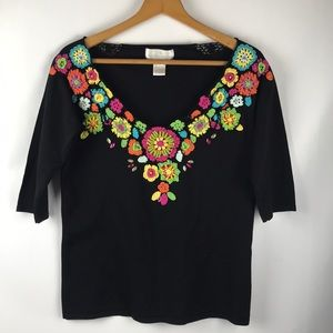 Soft Surroundings Sweaters - Soft Surroundings Black Beaded Embellished Sweater